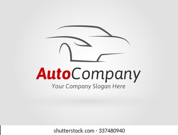Auto Company Logo Vector Design Concept with Sports Car Silhouette on light grey background