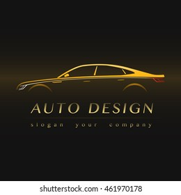 Auto Company Yellow Logo Vector Design Concept with Sports Car Silhouette.
