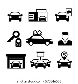 Auto dealership, car industry, car selling, buying and renting vector icons. Illustration of icon car sales