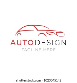 Auto design logo template. Car service or dealer shop icon vector design with line silhouette vehicle on white background. Illustration of automotive repair or wash.
