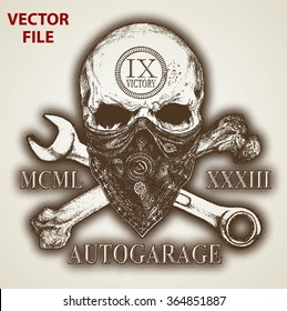AUTO GARAGE LOGO WITH SKULL AND BONE OR GRUNGE PRINT AND BACKGROUND ISOLATED