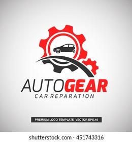 Auto Gear Logo Template. For Reparation company, Automotive Company, Sparepart shop. Vector Eps.10