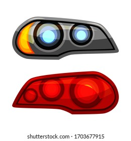 Auto headlights set isolated on white background. Automobile rear and front lights. Vehicle lamp kit. Spare part, detail for replacement. Car repair and maintenance service. Workshop item