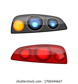 Auto headlights set isolated on white background. Automobile rear and front lights. Vehicle lamp kit. Spare part, detail for replacement.