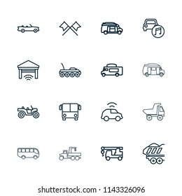 Auto icon. collection of 16 auto outline icons such as airport bus, truck with hook, van, cargo trailer, car music, garage. editable auto icons for web and mobile.