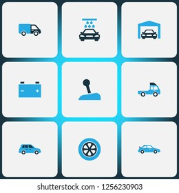 Auto icons colored set with stick, crossover, truck and other gear lever elements. Isolated vector illustration auto icons.