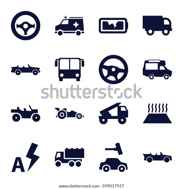 auto icons set. Set of 16 auto filled icons such as airport bus, car wash, truck, van, ambulance, cabriolet, broken battery, auto flash, heating system in car, steering wheel