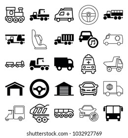 Auto icons. set of 25 editable filled and outline auto icons such as airport bus, garage, truck with hook, truck, car music, steering wheel, train toy, car, cargo trailer