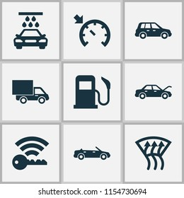 Auto icons set with fuel, cruise control on, van and other fixing elements. Isolated vector illustration auto icons.