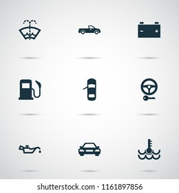 Auto icons set with key, oil pressure low, temperature and other steering elements. Isolated vector illustration auto icons.