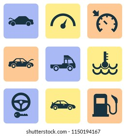 Auto icons set with key, sports automobile, auto hood and other bonnet open elements. Isolated vector illustration auto icons.