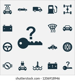Auto icons set with temperature, chassis, caution and other press brake pedal elements. Isolated vector illustration auto icons.