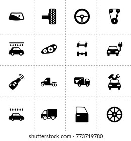 Auto icons. vector collection filled auto icons. includes symbols such as whell, timing belt, tire, car chassis, car door, window repair. use for web, mobile and ui design.
