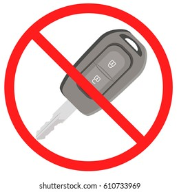 Auto key in ban sign. Forbidden auto key. Stock vector illustration