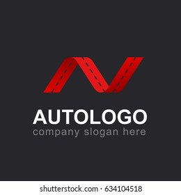 Auto logo. Road. Car. Wave. AV/N.