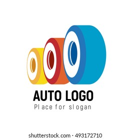 Auto logo template. Logotype automobile shop, workshop or repair service. Concept icon for logistics, truck company. Simple style vector clip art.
