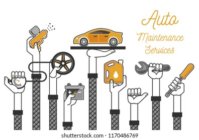 Auto Maintenance Services. Vector Illustrations.