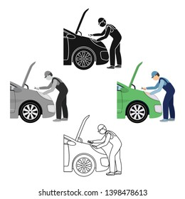 Auto mechanic and adjustment single icon in cartoon,black,outline,black style for design.Car maintenance station vector symbol stock illustration web.