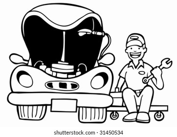Auto Mechanic Car Hood : Repairman working on a vehicle with an open hood in a cartoon black and white style.
