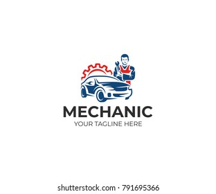 Auto mechanic and car logo template. Automotive technician vector design. Auto service illustration