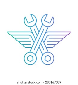 Auto mechanic car repair shop logo, icon with wings. Fast car service, vehicle maintenance. Linear design.