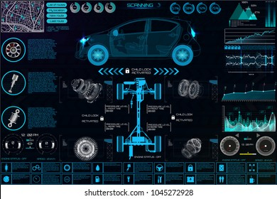 Auto mechanic car service and maintenance infographic elements with charts and graphs in the HUD style, vector illustration.Futuristic User Interface Car auto service, repair, infographics UI HUD