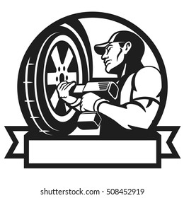 Auto mechanic changing tyre on car. Auto mechanic works with the cordless impact wrench. Wheel change. Vector illustration.