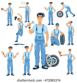 Auto mechanic character vector  illustration set,car service man wearing uniform, in cartoon style, in different poses with various facial expressions, with car wheel, mechanical tools.