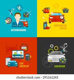 Auto mechanic design concept set with car repair service flat icons isolated vector illustration