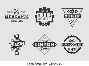 Auto mechanic logo set white and grey