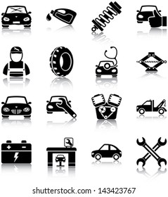 Auto mechanic related icons/ silhouettes.