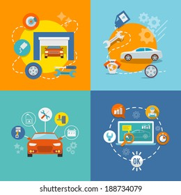 Auto mechanic service flat icons of maintenance car repair and working isolated vector illustration