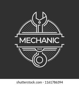 Auto mechanic service. Mechanic service logo set. Repair service auto mechanic logos. Car vintage vector logo set. Vector illustration.
