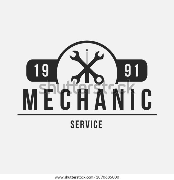 Auto mechanic service. Mechanic service logo set. Repair service auto mechanic logos. Car vintage vector logo set.