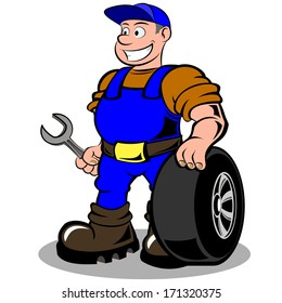 auto mechanic with wheel vector illustration isolated on white background