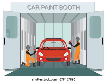 Auto mechanic worker painting new car at car paint booth  by spraying red color paint,auto garage vector illustration.