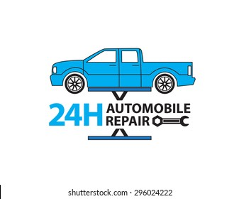 Auto mechanic working in garage, Repair service