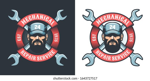 Auto Mechanic with wrench and ribbon - retro logo. Repair man in cap - retro emblem. Vector illustration.