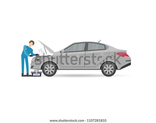 Auto Repair Services Near Me >> Auto Mechanics Uniform Check Repair Engine Arkistovektori