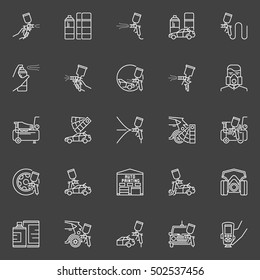 Auto painting outline icons. Vector collection of white car paint concept signs. Spray gun, paint mask symbols on dark background