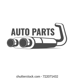 Auto parts banner logo with exhaust system, car parts logo isolated on white background vector