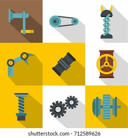 Auto parts icon set. Flat style set of 9 auto parts vector icons for web design