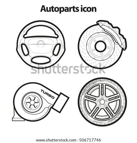 auto parts icons sketch duplicates banner stock vector royalty free VW Bug Spare Tire auto parts icons sketch duplicates banner set of thematic spare parts icons road