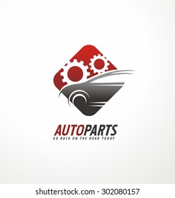 Auto parts logo design concept. Car and gears in negative space creative symbol layout. Corporate icon with transportation theme. Service and garage label. Go back on the road today.