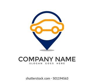 Auto Pin Car Point Automotive Logo Design Template