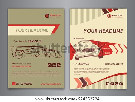 Auto Repair Brochure Templates Mockup Flyer Stock Vector Royalty