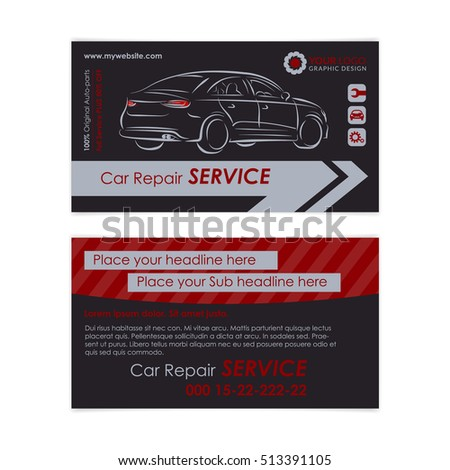 Auto Repair Business Card Template Create Stock Vector Royalty Free