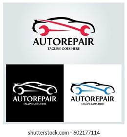 Auto repair logo design template. Wrench logo design concept. Vector illustration