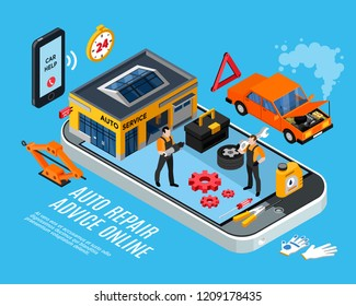 Auto repair online advice isometric concept with spare parts symbols vector illustration
