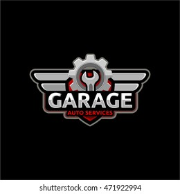 Auto repair service logo, badge, emblem, template. Key and gear on background of the shield.